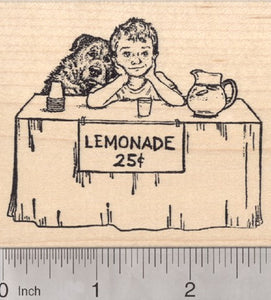 Lemonade Stand Rubber Stamp, Boy with Dog