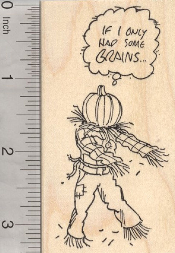 Halloween Zombie Scarecrow Rubber Stamp, If I only Had Brains