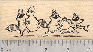 Garden Bandits Rubber Stamp, Raccoon Stealing Vegetables