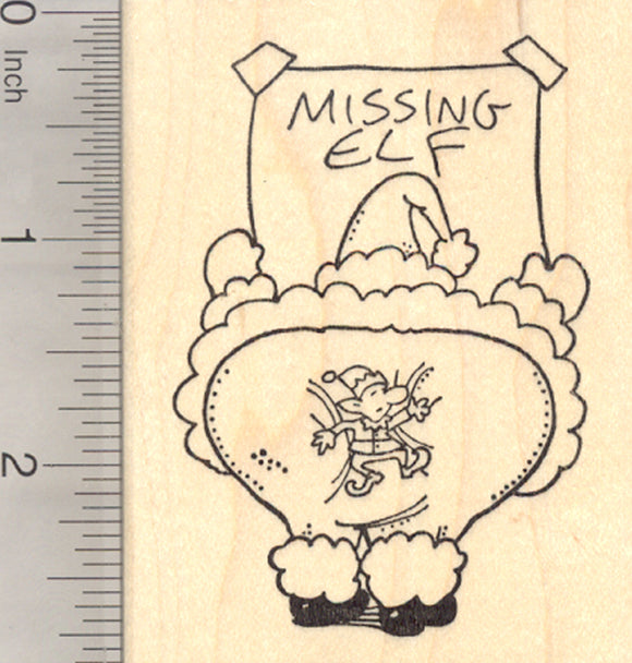 Santa Claus Missing Elf Rubber Stamp, Christmas
