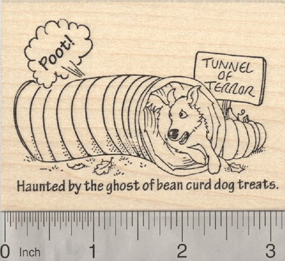 Dog Halloween Tunnel Rubber Stamp, Haunted by the ghost of bean curd