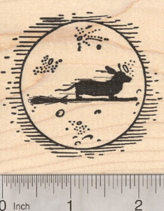 Halloween Dachshund Witch Rubber Stamp, Flying past Moon