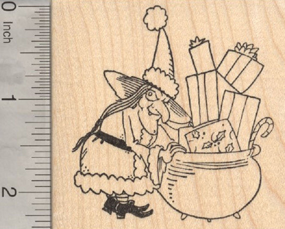 Christmas Witch Rubber Stamp, with Santa Suit