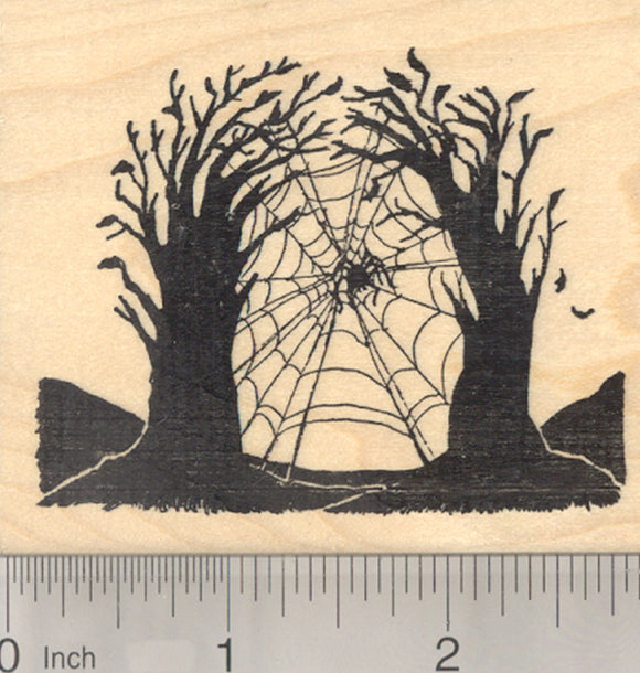 Halloween Giant Spider Web Rubber Stamp, Spooky