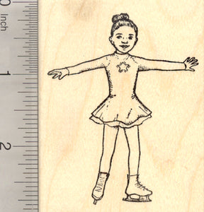 Ice Skating Girl Rubber Stamp, Skater