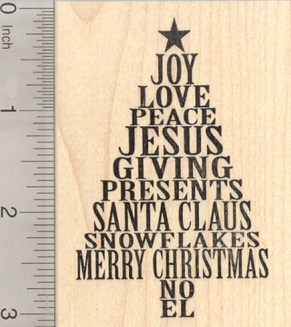 Christmas Tree Rubber Stamp, Joy Love Peace