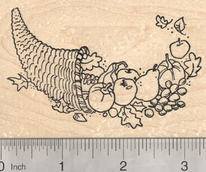 Thanksgiving Cornucopia Rubber Stamp, Horn of Plenty with Vegetables and Fruit