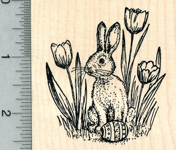 Easter Bunny Rubber Stamp, with Egg, and Tulips