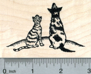 Cat and Dog Rubber Stamp, Looking at the Sky