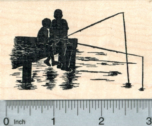 Dock Fishing Rubber Stamp, Man and Child, Father's Day Series
