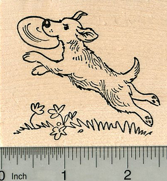 Dog Rubber Stamp, Playing Frisbee