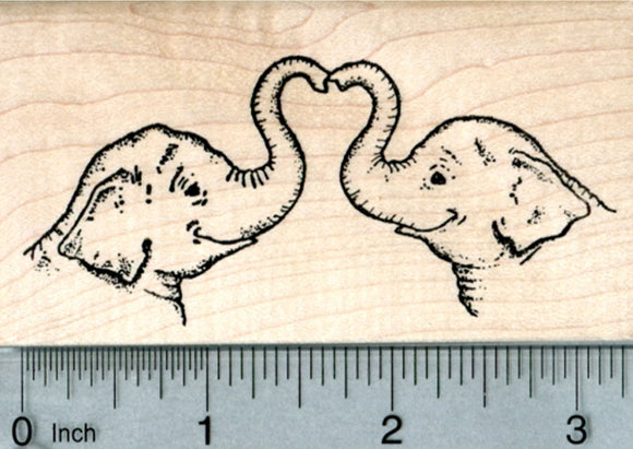 Valentine's Day Elephants Rubber Stamp