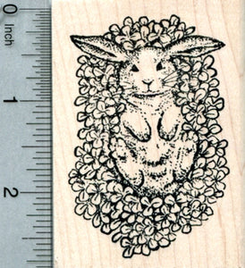 St. Patrick's Day Bunny in Clover Rubber Stamp, Rabbit