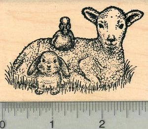 Easter Lamb Rubber Stamp, with Duck and Bunny Rabbit, Spring Series