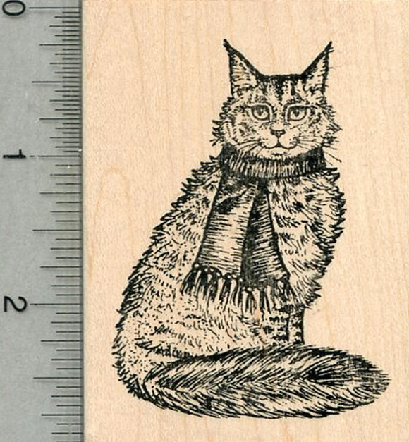Maine Coon Rubber Stamp, Cat in Scarf