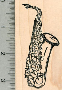 Saxophone Rubber Stamp, Woodwind Musical Instrument Series