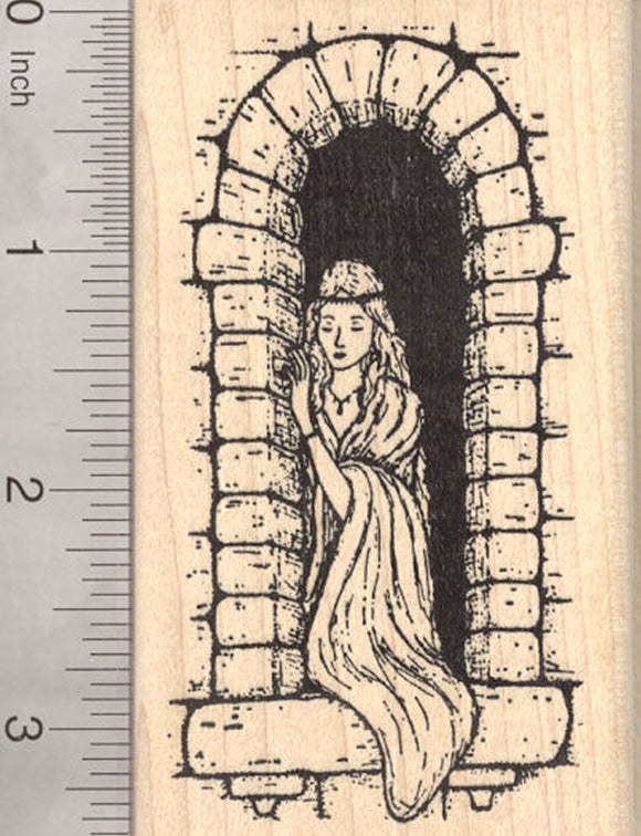Castle Princess Rubber Stamp, Fairytale Maiden, Renaissance