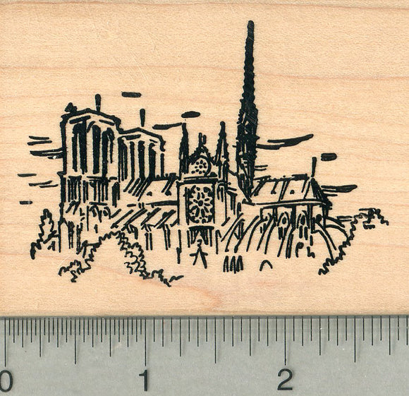 Notre-Dame de Paris Rubber Stamp, Cathedral