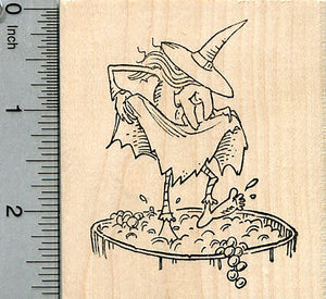 Halloween Witch Rubber Stamp, Stomping Grapes, Wine Series