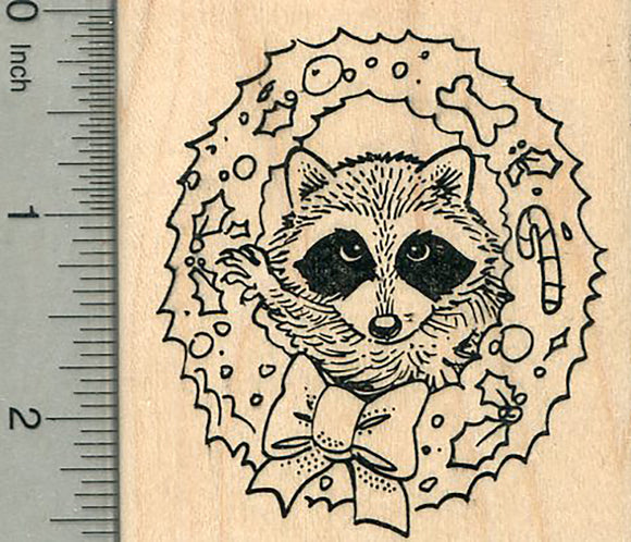 Christmas Raccoon Rubber Stamp, in Holiday Wreath