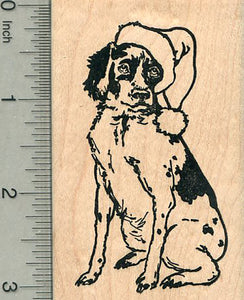 Christmas Dog Rubber Stamp, Springer Spaniel in Santa Hat