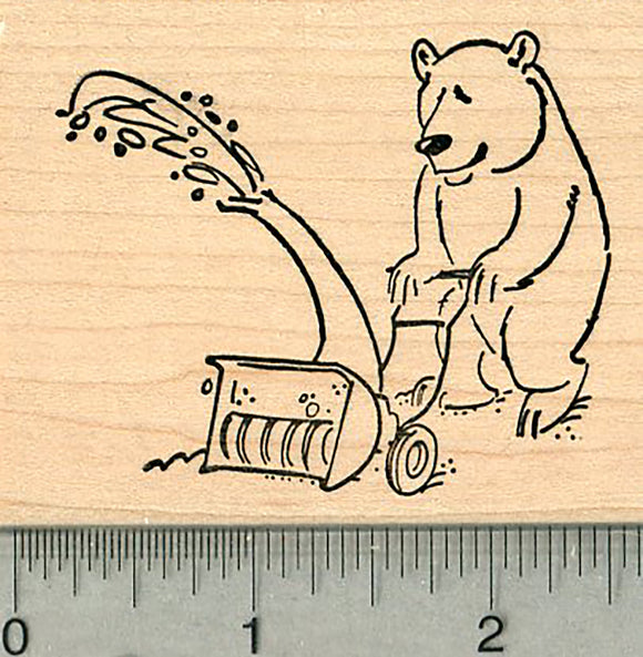 Snow Day Rubber Stamp, Polar Bear with Snowblower