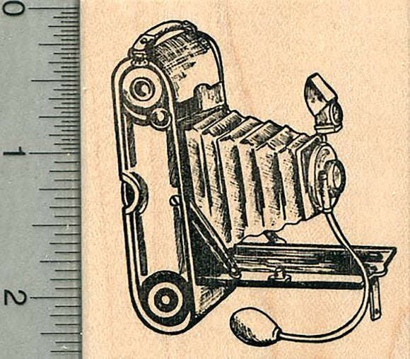 Bellows Camera Rubber Stamp, Antique Art Deco Series