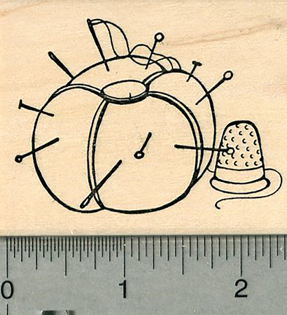 Sewing Rubber Stamp, Pin cushion with Thimble