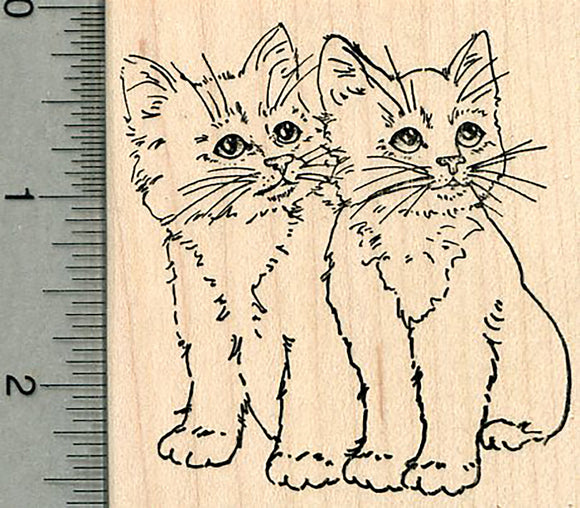 Cat Rubber Stamp, Pair of Kittens
