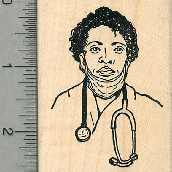 Doctor Rubber Stamp, Woman with Stethoscope, Healthcare Heroes Series