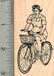Bicycling Nurse Rubber Stamp, Nursing is like Riding a Bike Series #1