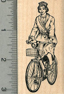 Bicycling Nurse Rubber Stamp, Nursing is like Riding a Bike Series #2