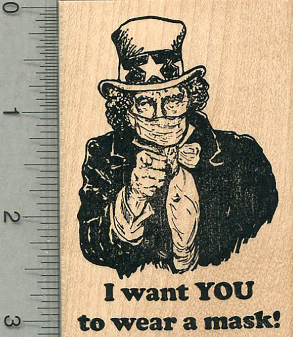 Masked Uncle Sam Rubber Stamp, I want YOU to wear a mask!