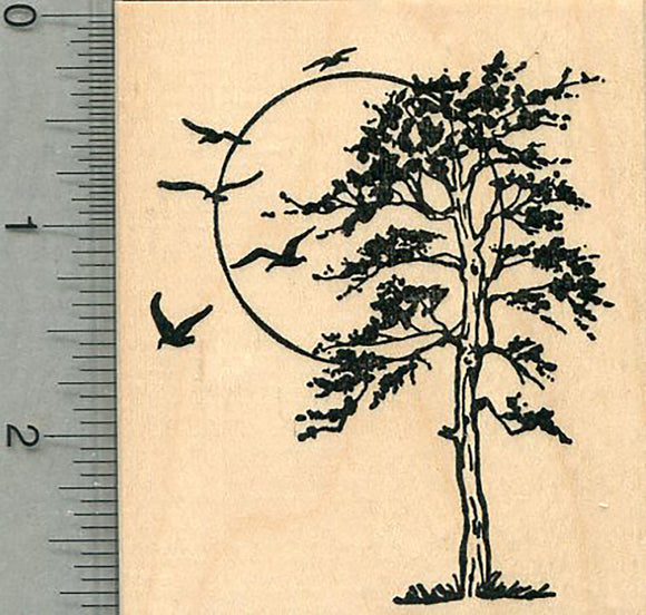 Tree Rubber Stamp, with Birds and Sun, Scenery Series