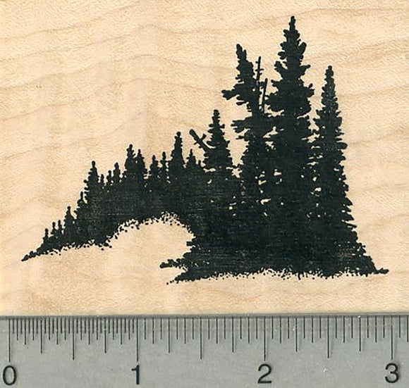 Evergreen Trees Rubber Stamp,  Scenery Series