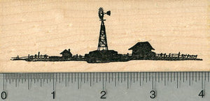 Farm Rubber Stamp, with Windmill Water Pump, Scenery Series