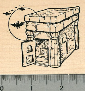 Halloween Mausoleum Rubber Stamp, with Casket and Bats, Cemetery Series