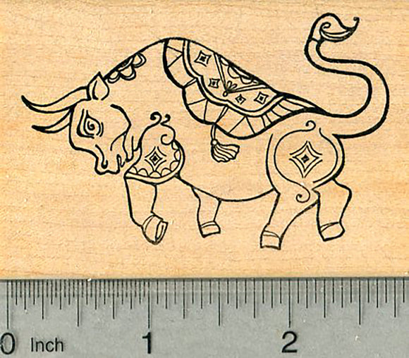 Chinese New Year Rubber Stamp, 2021, Year of the Ox
