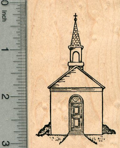 Church Rubber Stamp, Old-fashioned, Country Scenery Series