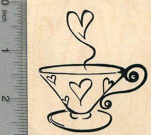 Valentine's Day Rubber Stamp, Hearts Tea Cup