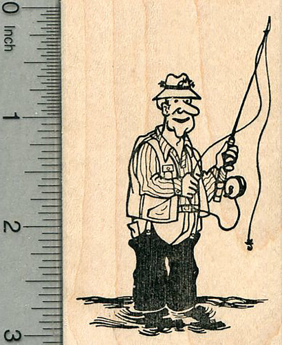 Fishing Rubber Stamp, Man in Waders with Pole