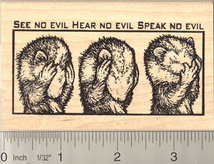 See no evil Ferret (Skunk) Rubber Stamp
