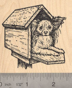 Papillon Dog (Reba) Rubber Stamp, In Mailbox