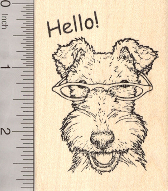 White Fox Terrier Dog Rubber Stamp, Wearing Glasses, Hello!