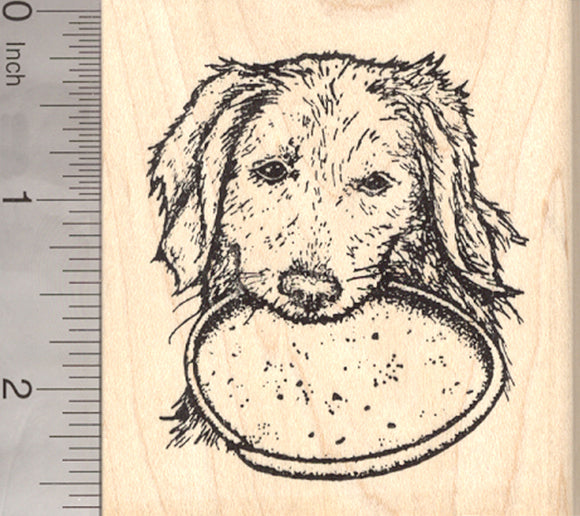 Labrador Retriever Dog Rubber Stamp, With Flying Disc in Mouth