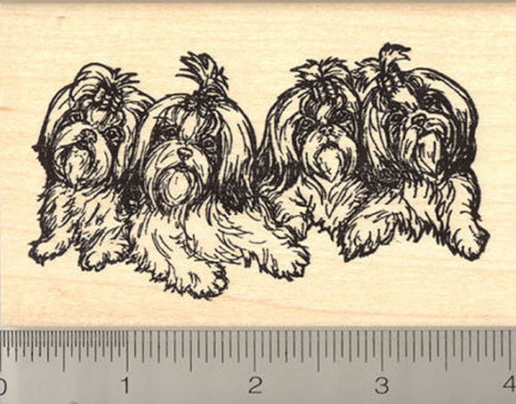 Shih Tzu Rubber Stamp, Group of Four Dogs