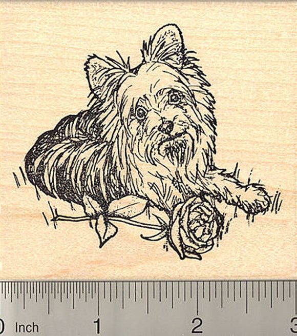 Yorkshire Terrier Rubber Stamp, Detailed Yorkie Dog with Rose, Valentine's