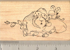 Christmas Guinea Pig Rubber Stamp, Santa Hat and Sack