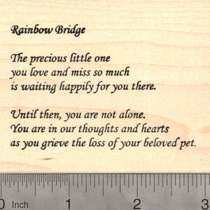Rainbow Bridge Sympathy Text (Pet Loss) Rubber Stamp