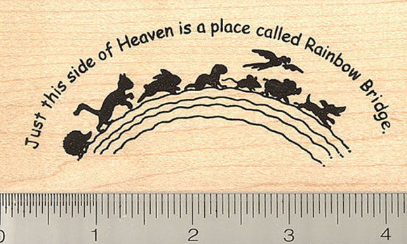 Large Rainbow Bridge with Pets Rubber Stamp
